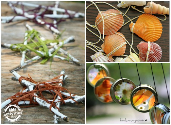 3 outdoor projects made with nature: stick and twine stars, shell wind chimes, colorful flower wind chimes