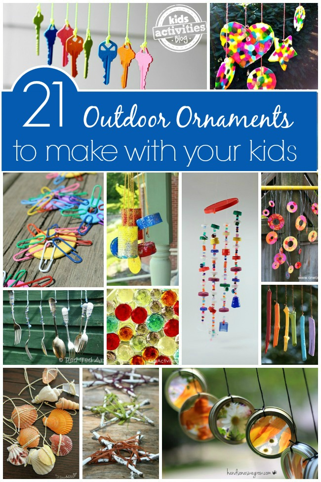 21 Outdoor Ornaments & Wind Chimes to Make with your kids - shown are keys hanging on string, suncatchers, wind chimes out of beads, wind chimes out of shells and flowers hanging in sun