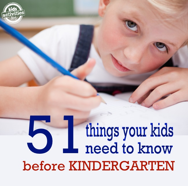 51 Things your kids need to know before Kindergarten - girl of preschool age writing in a book