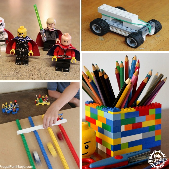 games and things to create with legos - 4 ideas for LEGO games minifigures, built cars, LEGO racers and pencil holder