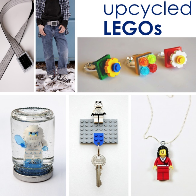Ideas of things to make with legos - upcycled LEGOs text with 6 different LEGO ideas from making a belt to making a necklace out of bricks