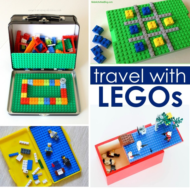 Traveling with LEGO ideas - traveling hacks - bring legos four ways from lunch box with baseplates to tic tac toe board made of bricks