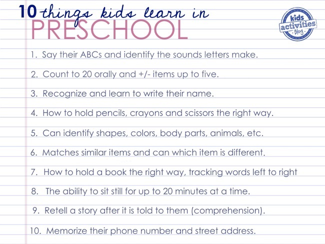 what preschoolers learn before kindergarten - 10 things they learn in preschool - pictured is a list of those 10 items including say ABCs, identify sounds, recognize and write their name, hold pencil correctly...