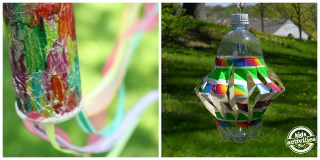 2 outdoor crafts for kids to make colorful windsock and rainbow water bottle spinner
