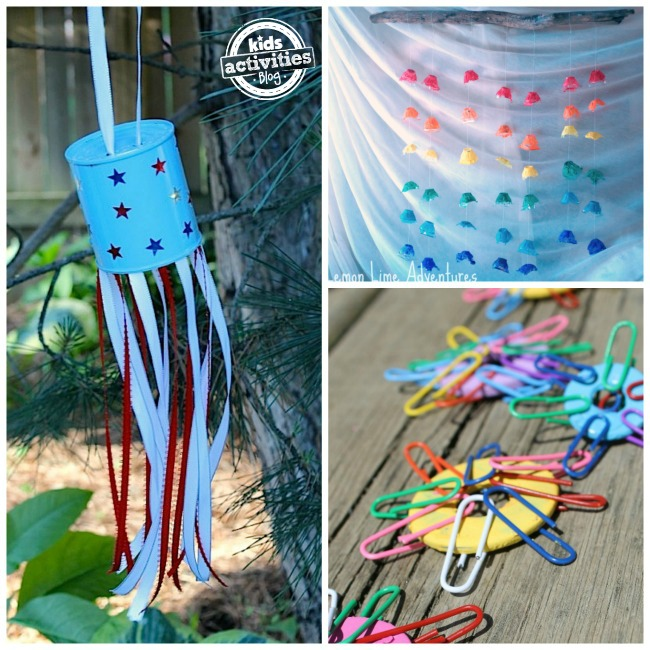 3 outdoor art and craft projects for kids: patriotic can, wind spinners
