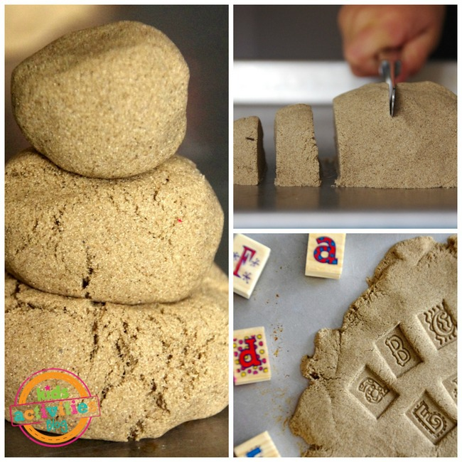 Kinetic sand toys or utensils like a butter knife to cut the stand or stamps to make abc's in the sand.