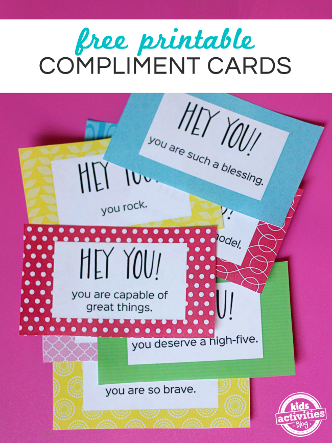 Free printable compliment cards-red, blue, red dotted, pink and white, green. Hey you! You are a blessing, capable of great things.