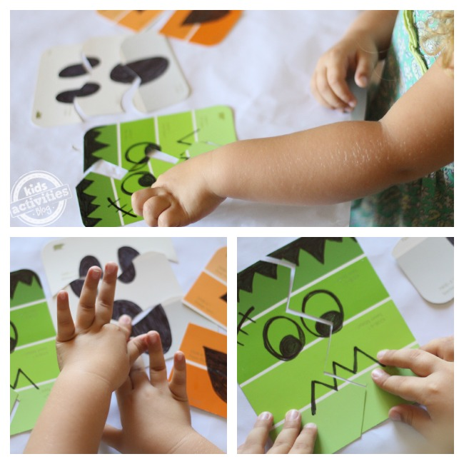 Make halloween puzzles with paint chips