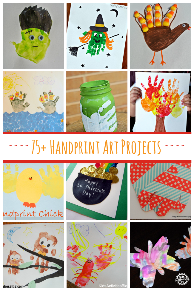 75+ Handprint Art Projects for kids - fun things to make with paint and hands