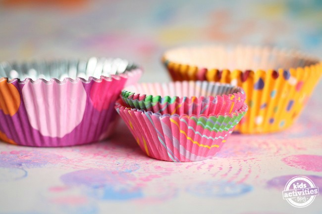 coloured, patterned cupcake liners