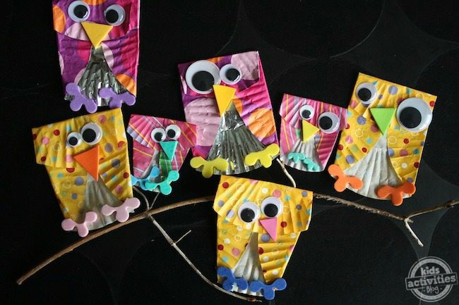 muffin liner owls for skip counting game