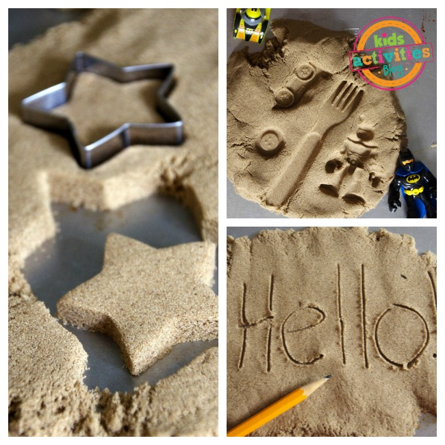 How is kinetic sand made? Someone used a cookie cutter to cut the sand, wrote in the sand with a pencil, and pressed toys in the snad.