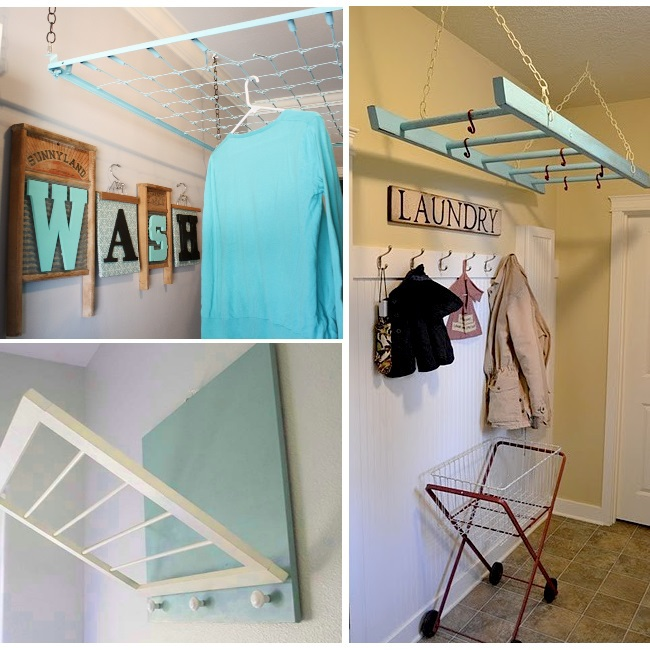 DIY drying rack inspiration for the laundry room