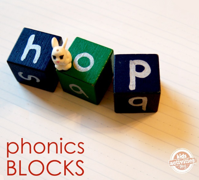 Phonics blocks. Make these and practice sounding out words with your kids