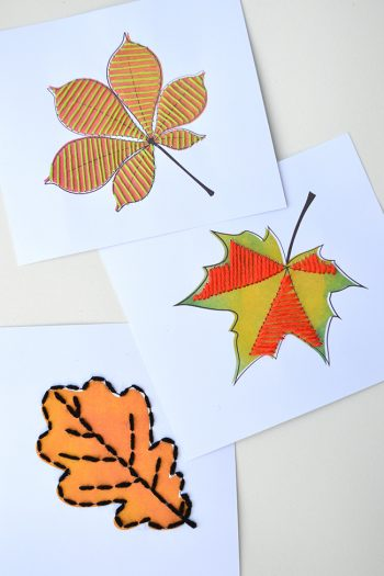 autumn leaf sewing cards free printables