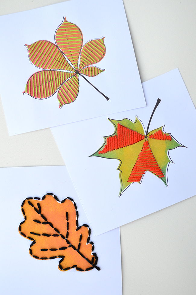 Kids Autumn Leaf Lace Up Cards – Free Printable