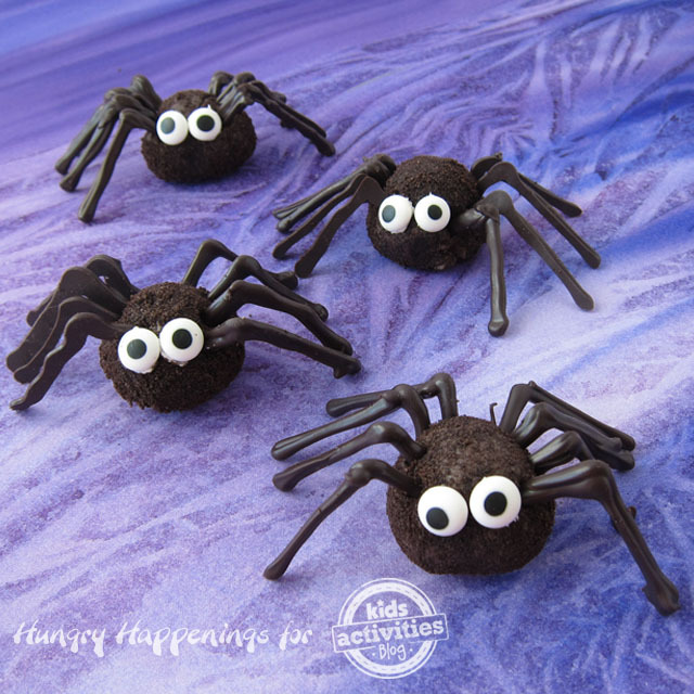 Chocolate Oreo Truffle Spiders with candy eyes