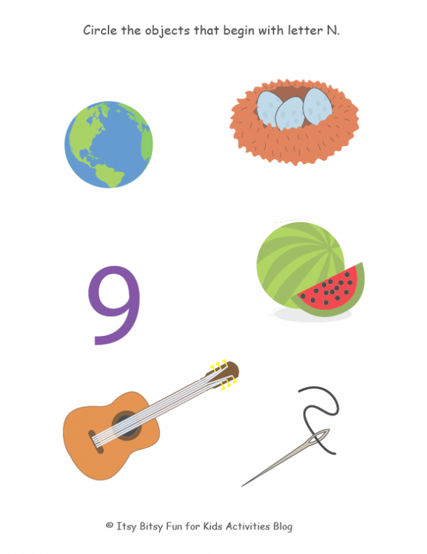 circle the objects that begin with letter N