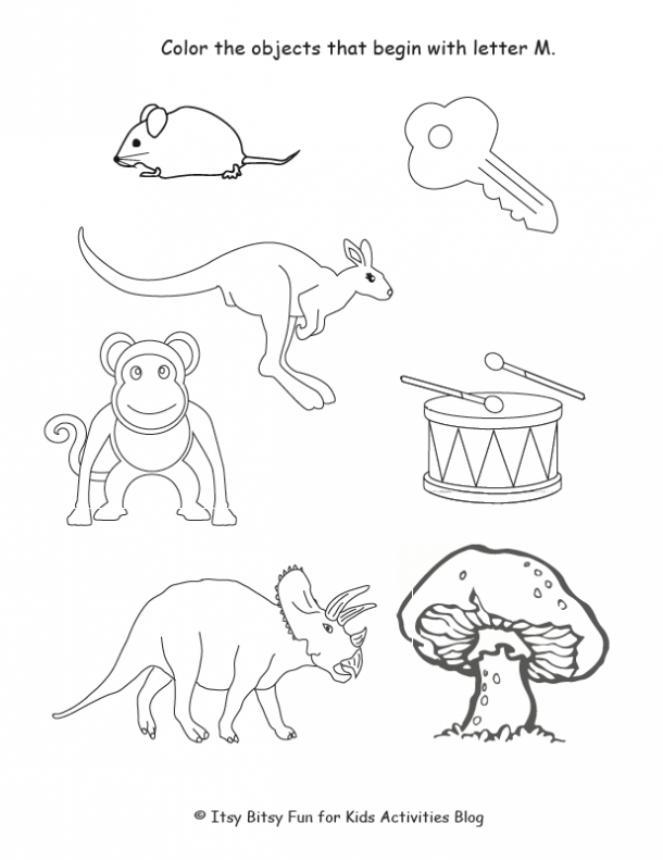 color the objects that begin with lette M