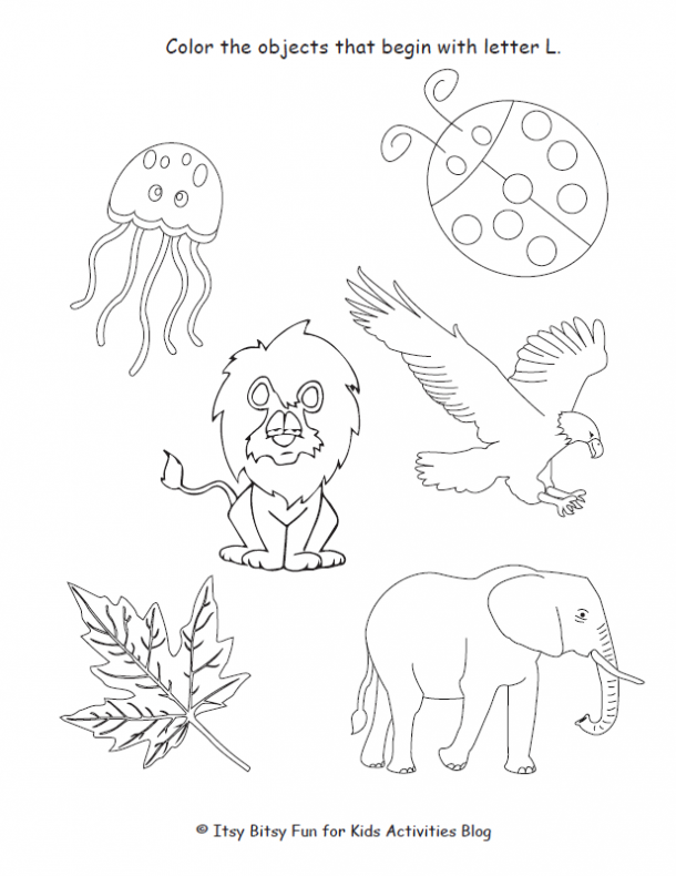 color the objects that begin with letter L