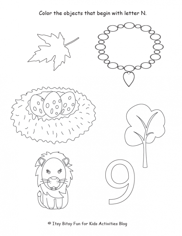 color the objects that begin with the letter n