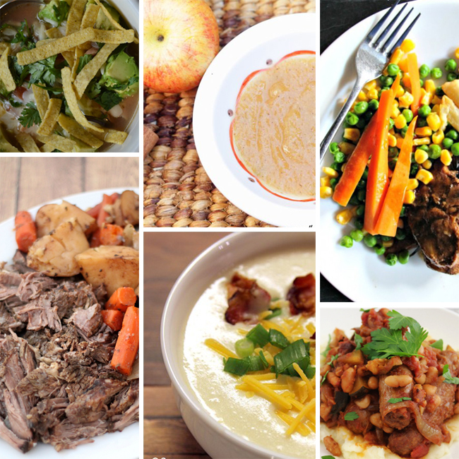 Image collage, 6 images. Top left, tortilla soup. Bottom left, brisket with potatoes and carrots. Top middle, baked apples. Bottom middle, hearty potato soup. Top right, Meat and vegetables are on a plate. Bottom right, a wonderfully meaty stew.