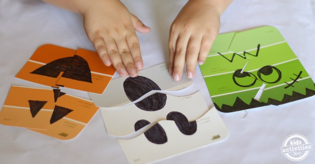 Simple Halloween games. Make your own paint chip puzzles! These would be great in goodie bags.