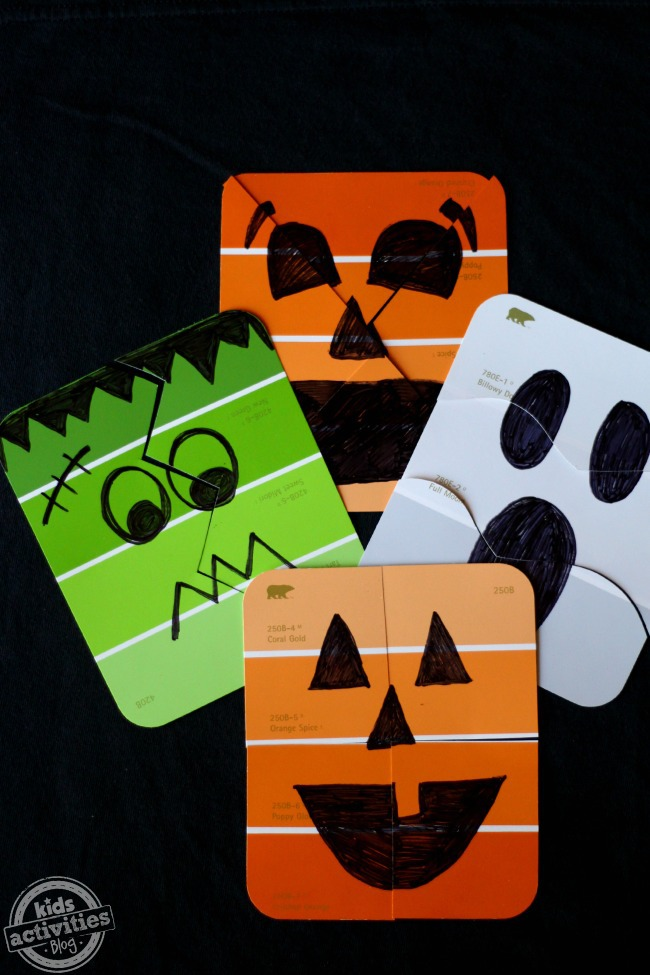 Spooky Cute DIY Halloween Paint Chip Puzzles for Kids