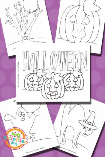 Free Printable Halloween Tracing Coloring Pages for Kids
