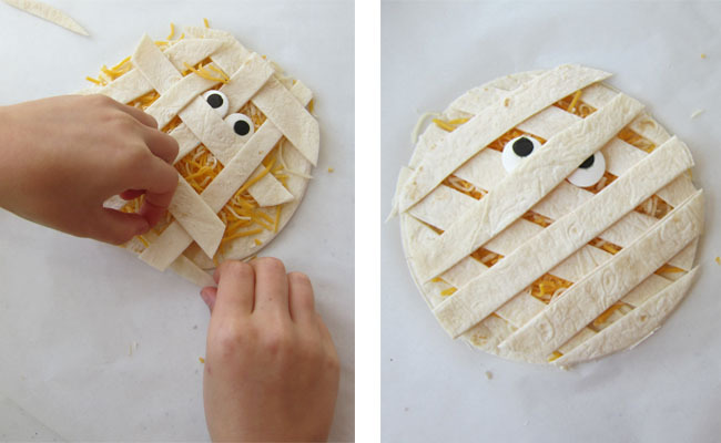 making quesadilla mummies