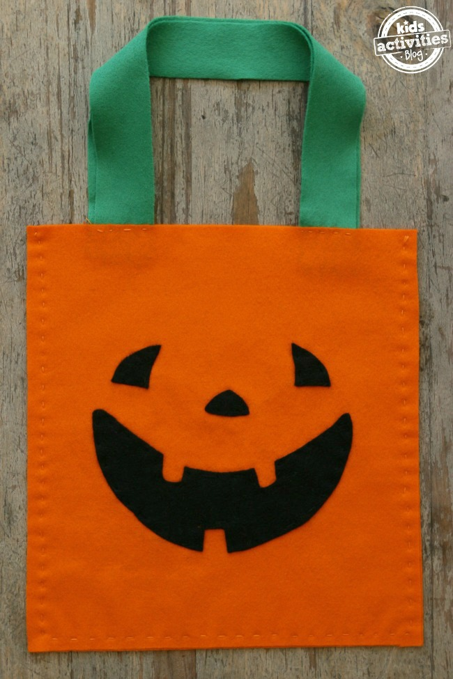 sew pumpkin treat bag with kids