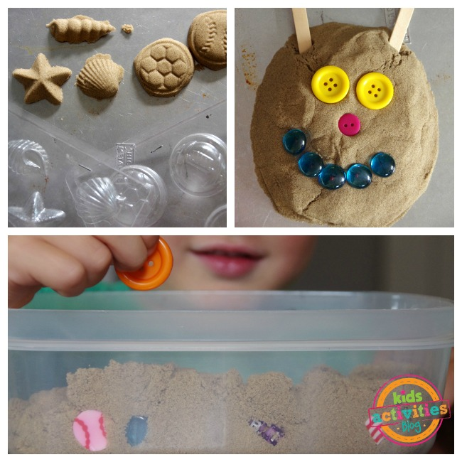kinetic sand molds like seashells, flowers, buttons to make faces with stone faces, and an i spy with buttons and foam figures.