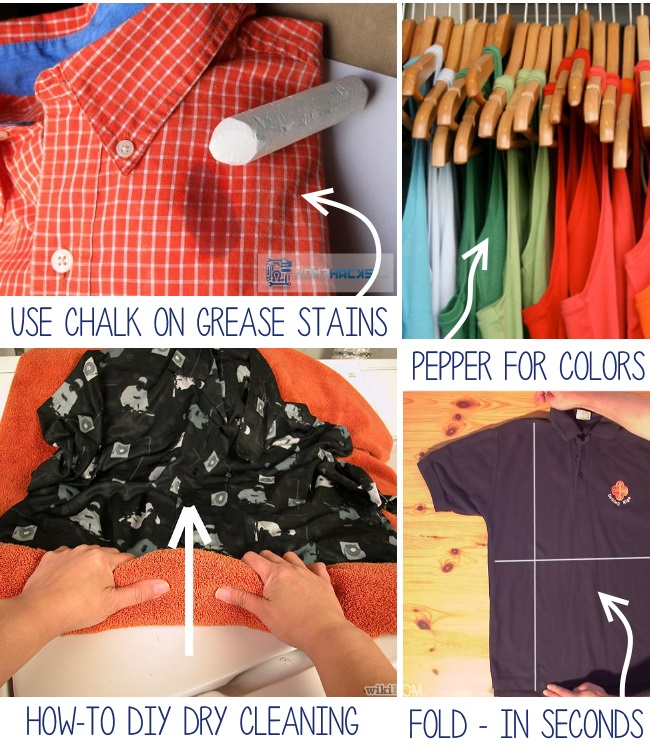 use chalk on grease stains, how to dry cleaning, fold in seconds and pepper for colors