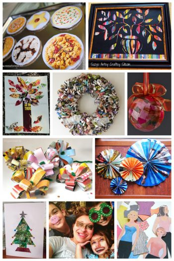 14 Ways to Recycle Old Magazines Into New Crafts-beads, wreaths, trees, collages, rosettes, funny faces