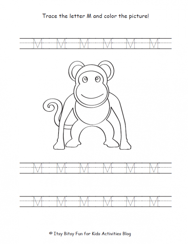 trace the uppercase letter M and color the picture