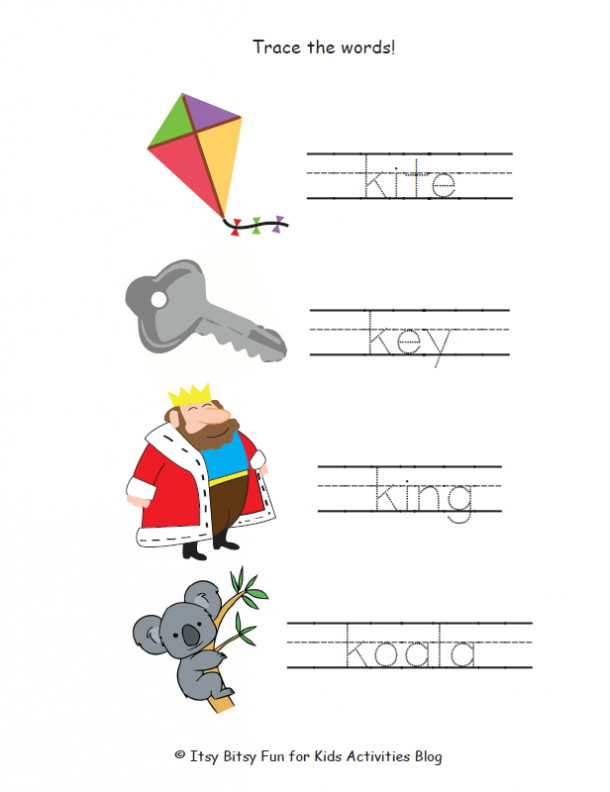 trace the words that start with k