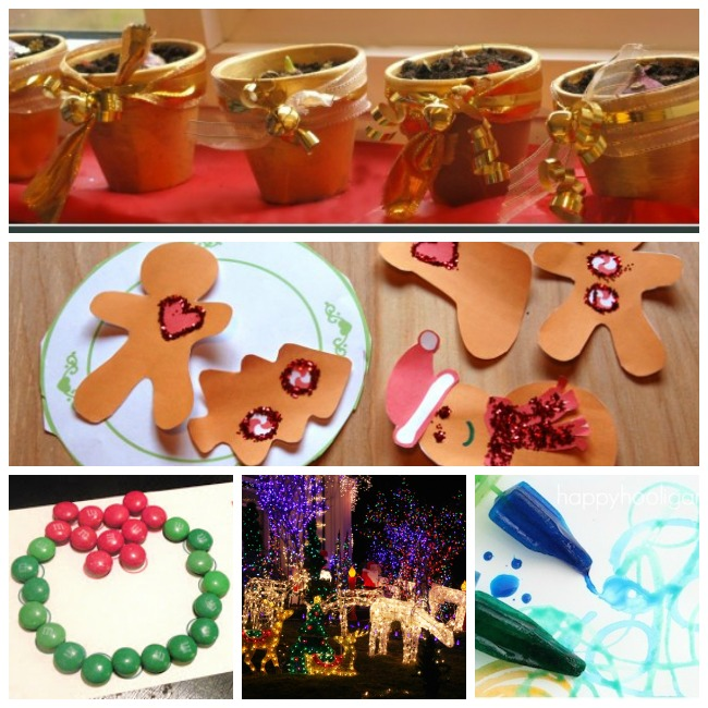 25 days of christmas crafts for toddlers with paper cookie decorating, M&M wreaths, christmas lights, and coloring.