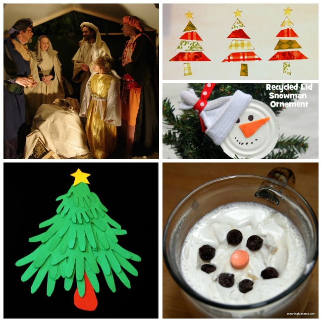 countdown to 25 days of christmas with hand christmas tree, nativity story, soup lid snowmen, and hot coco for breakfast.