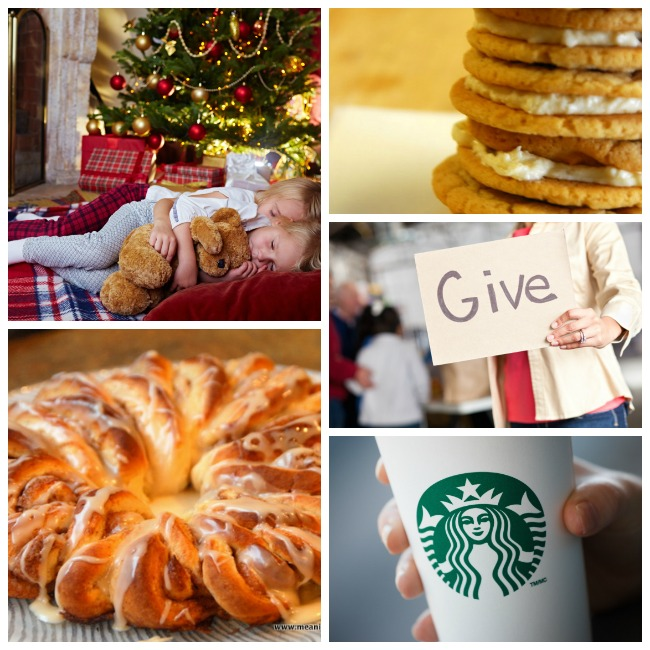 25 days of christmas ideas with baking of cookies, dinner wreath, snuggles, starbucks, and donating.