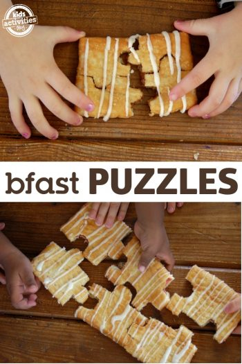 Breakfast puzzles cut a pop tart into the shape of puzzle pieces and notch them together. Fun slumber party food.