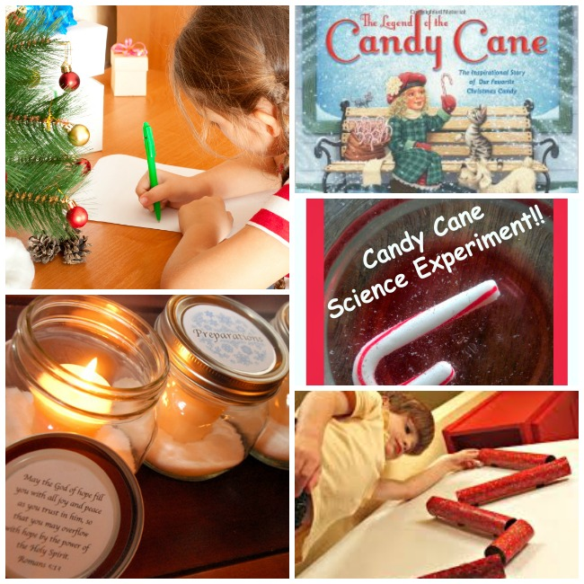 christmas eve countdown with letter writing, candle lighting, reading books, candy cane experiment.