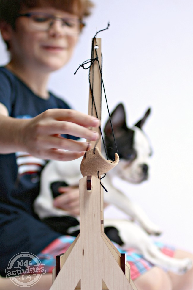 Finished Trebuchet from Tinker Crate - Kids Activities Blog