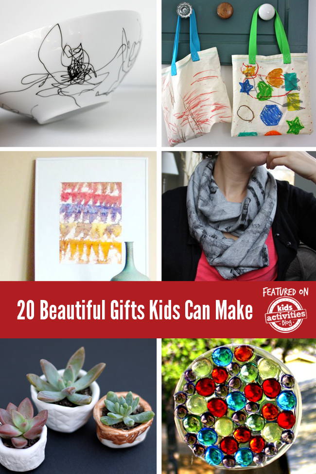 20 beautiful homemade gifts like a decorated bowl, a tote bag with colorful geometric shapes like a hexagon, leaf, star, and heart. A work of art with brown, red, purple, and orange upside down triangles, a scarf, pots with succulents in them, and a bejeweled suncatcher.