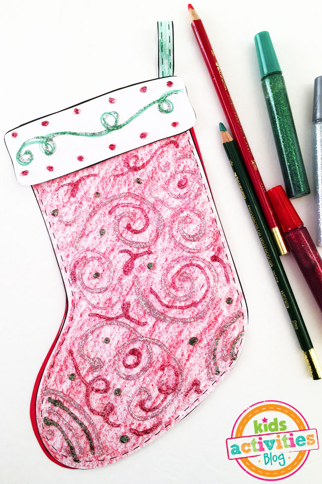 Add Color and Glitter to Decorate a Stocking