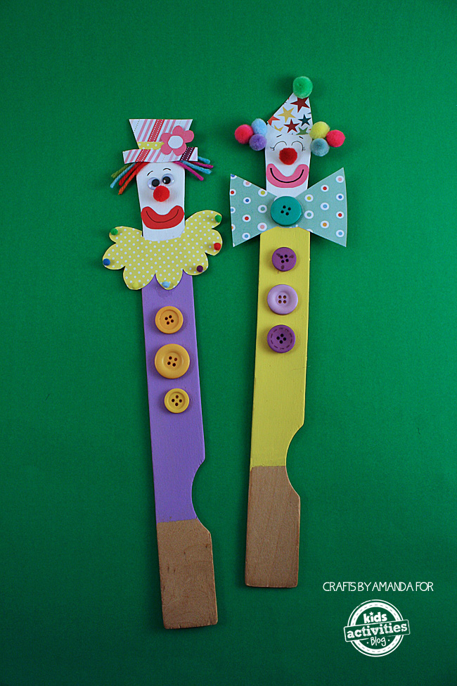 Super Cute & Easy to Make Paint Stick Clown Puppets