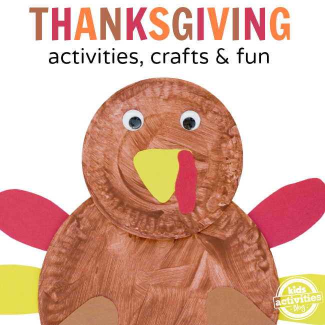 75+ Thanksgiving Crafts & Activities- A paper plate turkey craft.