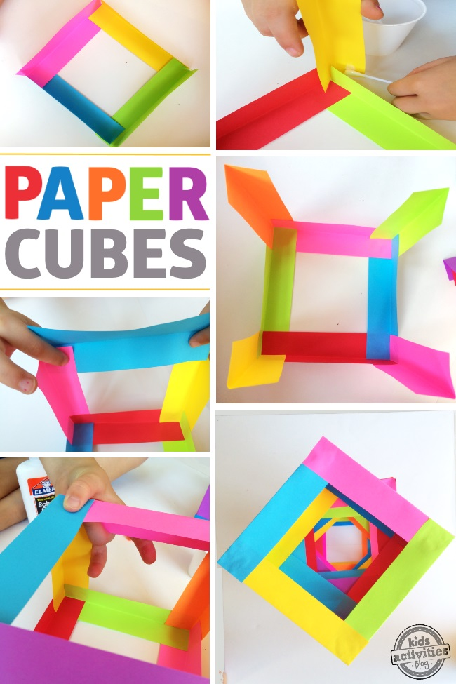 steps to making paper cubes by folding colorful paper which is the first step of this building toy