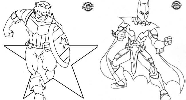 a pack of free superhero coloring pages for boys