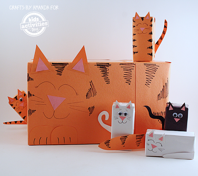 Cereal Box Cat with Juice Box Kittens by Amanda Formaro
