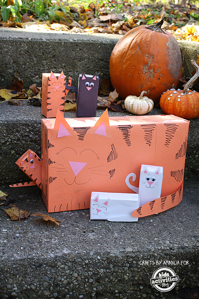 Cereal Box Cat with Juice Box Kittens